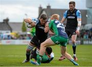 25 April 2015; Adam Ashe, Glasgow Warriors, is tackled by Miah Nikora and  Darragh Leader, Connacht. Guinness PRO12, Round 20, Connacht v Glasgow Warriors. Sportsground, Galway. Picture credit: Oliver McVeigh / SPORTSFILE