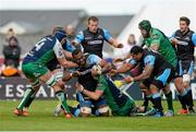 25 April 2015; Leone Nakarawa, Glasgow Warriors, is tackled by Eoghan Masterson, Connacht. Guinness PRO12, Round 20, Connacht v Glasgow Warriors. Sportsground, Galway. Picture credit: Oliver McVeigh / SPORTSFILE