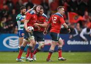 24 April 2015; Tommy O'Donnell, left, and Dave Kilcoyne, Munster, celebrate Munster's third try. Guinness PRO12, Round 20, Munster v Benetton Treviso. Irish Independent Park, Cork. Picture credit: Eoin Noonan / SPORTSFILE