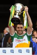 25 April 2015; Offaly captain Paul McConway lifts the cup. Allianz Football League, Division 4, Final, Longford v Offaly. Croke Park, Dublin. Picture credit: Paul Mohan / SPORTSFILE