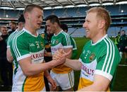 25 April 2015; Offaly's Peter Cunningham, left, and Niall Darby celebrate after the game. Allianz Football League, Division 4, Final, Longford v Offaly. Croke Park, Dublin. Picture credit: Paul Mohan / SPORTSFILE