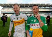 25 April 2015; Offaly's Alan Mulhall, left, and William Mulhall, celebrate after the game. Allianz Football League, Division 4, Final, Longford v Offaly. Croke Park, Dublin. Picture credit: Paul Mohan / SPORTSFILE