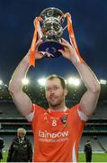 25 April 2015; Armagh captain Ciaran McKeever lifts the cup after the game. Allianz Football League, Division 3, Final, Armagh v Fermanagh. Croke Park, Dublin. Picture credit: Cody Glenn / SPORTSFILE