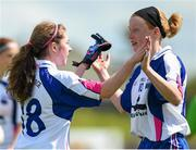 26 April 2015; Waterford's Shauna Dunphy, left, and Grainne Kenneally celebrate after victory over Roscommon. TESCO HomeGrown Ladies National Football League, Division 3, Semi-Finals, Waterford v Roscommon. McDonagh Park, Nenagh, Co. Tipperary Picture credit: Diarmuid Greene / SPORTSFILE