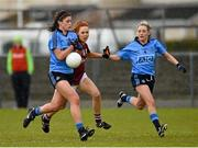 26 April 2015; Olwen Carey, left, and Fiona Hudson, Dublin, in action against Olivia Divilly, Galway. TESCO HomeGrown Ladies National Football League, Division 1, Semi-Final, Dublin v Galway. St Loman's, Mullingar, Co. Westmeath Picture credit: Paul Mohan / SPORTSFILE