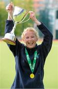 26 April 2015; Amy Roberts, Cork Church of Ireland captain, celebrates with the Trophy. Women's Irish Trophy final, Cork Church of Ireland v Galway, Belfield, Dublin. Picture credit: Ray Lohan / SPORTSFILE