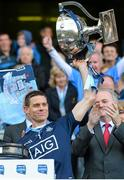 26 April 2015; Dublin captain Stephen Cluxton lifts the cup. Allianz Football League, Division 1, Final, Dublin v Cork. Croke Park, Dublin. Picture credit: Cody Glenn / SPORTSFILE
