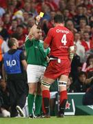 24 May 2008; Toulouse captain Fabien Pelous receives a yellow card from referee Nigel Owens. Heineken Cup Final, Munster v Toulouse, Millennium Stadium, Cardiff, Wales. Picture credit: Oliver McVeigh / SPORTSFILE