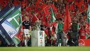 24 May 2008; Munster captain Paul O'Connell and Toulouse captain Fabien Pelous lead their teams out onto the pitch for the start of the game. Heineken Cup Final, Munster v Toulouse, Millennium Stadium, Cardiff, Wales. Picture credit: Oliver McVeigh / SPORTSFILE