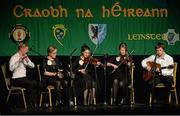 25 April 2015; The Ballymore Eustace, Kildare, team of Aoife Doyle, Kate Junker, Johnny Harney, Rachel Conlon and Paul Cassidy during the Ceol Uirlise competition. All-Ireland Scór Sinsir Championship Finals 2015. Citywest Hotel, Saggart, Co. Dublin. Picture credit: Piaras O Midheach / SPORTSFILE