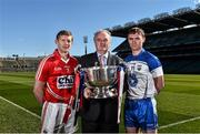 27 April 2015; In attendance at a photocall ahead of the Allianz Hurling League Division 1 Final this weekend are  Cork's Lorcan McLoughlin, left, Brendan Murphy, centre, CEO Allianz Ireland, and Waterford's Pauric Mahony. Croke Park, Dublin. Picture credit: Ramsey Cardy / SPORTSFILE