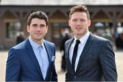 28 April 2015; Dublin footballers Bernard Brogan, left, and Paul Flynn at the day's races. Punchestown Racecourse, Punchestown, Co. Kildare. Picture credit: Matt Browne / SPORTSFILE