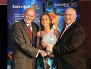 24 May 2008; Michelle Aspell, Waterford Wildcats, is presented with the Female Superleague Player of the Year Award by Tony Colgan, President of Basketball Ireland, and Sean O'Reilly at the Basketball Ireland annual awards. The Tower Hotel, Whitestown Way, Tallaght, Dublin. Picture credit: Damien Eagers / SPORTSFILE