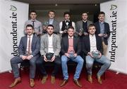 28 April 2015; Players, back row, from left to right, David Byrne, UCD/ Dublin, David Culhane, UCC/Kerry, Conor Moynagh, DCU/  Cavan, Tom Clancy, UCC/Cork and Niall Kelly, UCD/Killdare. Front row, from left to right, Mickey Quinn, DCU/Longford, Luke Connolly, UCC/Cork, Conor Cox, UCC/Kerry and Enda Smith, DCU/Roscommon, after being presented with their Independent.ie HE GAA Rising Stars Football Awards. Croke Park, Dublin. Picture credit: David Maher / SPORTSFILE