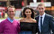 1 May 2015; Georgia Salpa with jockeys Robbie Power, left, and Mark Walsh at Punchestown Racecourse, Punchestown, Co. Kildare. Picture credit: Matt Browne / SPORTSFILE