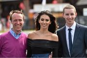 1 May 2015; Georgia Salpa with jockey's Robbie Power,left, and Mark Walsh at Punchestown Racecourse, Punchestown, Co. Kildare. Picture credit: Matt Browne / SPORTSFILE