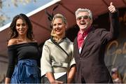 1 May 2015; Best dressed lady winner Blaithin Dunleavy from Kill, Co. Kildare, with Georgia Salpa and Louis Walsh at Punchestown Racecourse, Punchestown, Co. Kildare. Picture credit: Matt Browne / SPORTSFILE