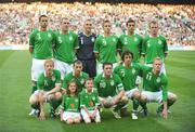 24 May 2008; The Republic of Ireland team, back row, left to right, Damien Delaney, Richard Dunne, Dean Kiely, Kevin Doyle, Stephen Kelly and Glenn Whelan. Front row, left to right, Paul McShane, Liam Miller, Robbie Keane, Stephen Hunt and Damien Duff. Republic of Ireland v Serbia - friendly international, Croke Park, Dublin. Picture credit: David Maher / SPORTSFILE