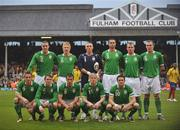 29 May 2008; The Republic of Ireland team, back row, left to right, John O'Shea, Paul McShane, Dean Kiely, Damien Delaney, Glenn Whelan and Richard Dunne, front row, left to right, Kevin Doyle, Aiden McGeady, Liam Miller, Andy Keogh and captain Robbie Keane. International Friendly, Republic of Ireland v Colombia, Craven Cottage, London, England. Picture credit: David Maher / SPORTSFILE *** Local Caption ***