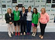 1 May 2015; Medal recipients from the women's 50m butterfly final, in the company of Anne McAdam, left, President of Swim Ireland, and Maev Nic Lochlainn, principal officer at the Department of Transport Tourism and Sport, from left, Bethy Firth, Ards, Caroline McTaggart, NCSA, Shauna O'Brien, UCD, and Emma Reid, Ards. 2015 Irish Open Swimming Championships at the National Aquatic Centre, Abbotstown, Dublin.  Picture credit: Piaras Ó Mídheach / SPORTSFILE