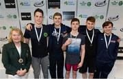 2 May 2015; Medal recipients from the men's 200m backstroke final, in the company of Anne McAdam, President of Swim Ireland, from left, Rory McEvoy, Ennis, Michael Taylor, NCSA, Conor Ferguson, Larne, Ben Griffin, Aer Lingus, and Alex Lebed, NCSA, during the 2015 Irish Open Swimming Championships at the National Aquatic Centre, Abbotstown, Dublin. Picture credit: Stephen McCarthy / SPORTSFILE