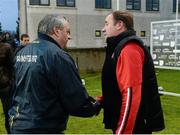2 May 2015; Tipperary manager Tommy Toomey and Tyrone manager Feargal Logan exchange handshakes after the game. EirGrid GAA All-Ireland U21 Football Championship Final, Tipperary v Tyrone. Parnell Park, Dublin. Picture credit: Oliver McVeigh / SPORTSFILE