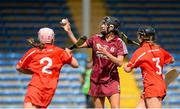 3 May 2015; Niamh McGrath, Galway, scores a goal despite the efforts of Lauren Callanan, left, and Laura Tracy, Cork. National Camogie League, Division 1 Final, Cork v Galway. Semple Stadium, Thurles, Co. Tipperary. Picture credit: Cody Glenn / SPORTSFILE