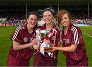3 May 2015; Galway players Ailiah O'Reilly, left, Sarah Dervan, centre, and Tara Kenny, celebrate. Irish aily Star National Camogie League, Division 1 Final, Cork v Galway. Semple Stadium, Thurles, Co. Tipperary. Picture credit: Ray McManus / SPORTSFILE