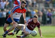3 May 2015;  Danny Cummins, Galway, in action against  Keith Quinn, New York. Connacht GAA Football Senior Championship, Preliminary Round, New York v Galway. Gaelic Park, New York, USA. Picture credit: Ray Ryan / SPORTSFILE
