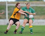 31 May 2008; Ann Clarke, Leinster, in action against Caoimhe Marley, Ulster. Ladies Football Interprovincial Football tournament, Leinster v Ulster, Pairc Chiarain, Athlone, Co. Westmeath. Picture credit: Stephen McCarthy / SPORTSFILE  *** Local Caption *** 29    2