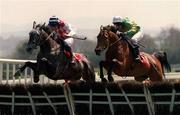 3 May 2000; Risk Accessor, with Charlie Swan up, right, and The Next Step, with Ruby Walsh up, jump the first during The Noel C. Ryan Memorial Novice Hurdle at Punchestown Racecourse in Kildare. Photo by Matt Browne/Sportsfile