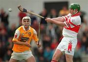 9 July 2000; Michael Collins of Derry during the Guinness Ulster Hurling Championship Final match between Derry and Antrim at Casement Park in Belfast. Photo By Aoife Rice/Sportsfile