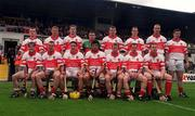 9 July 2000; The Derry team ahead of the Guinness Ulster Hurling Championship Final match between Derry and Antrim at Casement Park in Belfast. Photo By Aoife Rice/Sportsfile