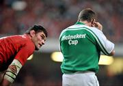24 May 2008; Fabien Pelous, Toulouse, looks up at referee Nigel Owens. Heineken Cup Final, Munster v Toulouse, Millennium Stadium, Cardiff, Wales. Picture credit: Brendan Moran / SPORTSFILE