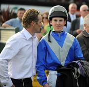 7 June 2008; Trainer Jim McCabe in conversation with jockey Emmet McNamara after winning the Gallo Family Vineyards Handicap with Hazelwood Ridge. It was the first winner for both jockey and trainer. The Curragh Racecourse, Co. Kildare. Picture credit: Ray McManus / SPORTSFILE