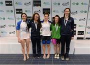 3 May 2015; Medal recipients from the women's 100m butterfly final, from left, Melanie Houghton, Aer Lingus, Lauren Case, NCSA, Shauna O'Brien, UCD, Emma Reid, Ards and Carly Cummings, NCSA. 2015 Irish Open Swimming Championships at the National Aquatic Centre, Abbotstown, Dublin. Picture credit: Piaras Ó Mídheach / SPORTSFILE