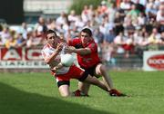 8 June 2008; Colm Cavanagh, Tyrone, in action against Liam Doyle, Down. GAA Football Ulster Senior Championship Quarter-Final, Tyrone v Down, Healy Park, Omagh, Co. Tyrone. Picture credit: Oliver McVeigh / SPORTSFILE