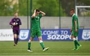 7 May 2015; Republic of Ireland players, from left, Caoimhin Kelleher, Darragh Leahy and Jonathan Lunney after the game ended in a draw. UEFA European U17 Championship Finals Group D, Republic of Ireland v Netherlands. Sozopol Stadium, Sozopol, Bulgaria. Picture credit: Pat Murphy / SPORTSFILE