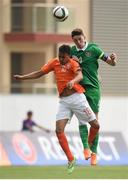 7 May 2015; Conor Masterson, Republic of Ireland, in action against Donyell Malen, The Netherlands. UEFA European U17 Championship Finals Group D, Republic of Ireland v Netherlands. Sozopol Stadium, Sozopol, Bulgaria. Picture credit: Pat Murphy / SPORTSFILE