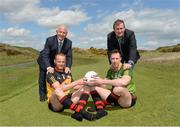 7 May 2015; Pictured are, from left to right, Sean Boylan, Rest of Ireland Select manager, former Down footballer Brendan Coulter, Ulster XV, former Dublin footballer Barry Cahill, Rest of Ireland Select XV, and James McCartan, Ulster XV manager, ahead of The GAA Open, a charity exhibition match between an Ulster XV and a Rest of Ireland Select XV, that will take place during the Irish Open Golf Week in Newcastle, Co. Down, on Monday 25th May. Royal County Down Golf Club, Down. Picture credit: Oliver McVeigh / SPORTSFILE
