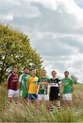 7 May 2015; Mayo captain Keith Higgins, with the Connacht Football Cup, and, from left, Galway captain Paul Conroy, London captain Martin Carroll, Roscommon captain Niall Carty, Sligo captain Mark Breheny and Leitrim captain Sean McWeeney in attendance at the launch of the 2015 Connacht GAA Football Championship. Connacht GAA Centre, Bekan, Claremorris, Co. Mayo. Picture credit: Matt Browne / SPORTSFILE