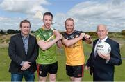 7 May 2015; Pictured are, from left to right, James McCartan, Ulster XV manager, former Dublin footballer Barry Cahill, Rest of Ireland Select XV, former Down footballer Brendan Coulter, Ulster XV, and Sean Boylan, Rest of Ireland Select manager, ahead of The GAA Open, a charity exhibition match between an Ulster XV and a Rest of Ireland Select XV, that will take place during the Irish Open Golf Week in Newcastle, Co. Down, on Monday 25th May. Royal County Down Golf Club, Down. Picture credit: Oliver McVeigh / SPORTSFILE