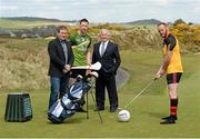 7 May 2015; Pictured are, from left to right, James McCartan, Ulster XV Manager, former Dublin star  Barry Cahill,  Rest of Ireland Select, former Down star Brendan Coulter, Ulster XV player and  Sean Boylan, Rest of Ireland Select manager, at a photocall  of The GAA Open, a charity exhibition match between an Ulster XV and a Rest of Ireland Select XV, that will take place during the Irish Open Golf Week in Newcastle, Co. Down, on Monday 25th May. Royal County Down Golf Club, Down. Picture credit: Oliver McVeigh / SPORTSFILE