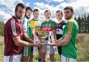 7 May 2015; Mayo captain Keith Higgins, centre, with, from left to right, Galway captain Paul Conroy, London captain Martin Carroll, Roscommon captain Niall Carty, Sligo captain Mark Breheny and Leitrim captain Sean McWeeney in attendance at the launch of the 2015 Connacht GAA Football Championship. Connacht GAA Centre, Bekan, Claremorris, Co. Mayo. Picture credit: Matt Browne / SPORTSFILE