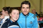 8 May 2015; Dublin footballer Bernard Brogan with Alessia Flynn, from Clonee, at a Dublin GAA open night. St. Brigid's GAA Club, Russell Park, Dublin. Picture credit: Piaras Ó Mídheach / SPORTSFILE