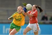 9 May 2015; Shannon McGroddy, Donegal, in action against Sinead McCoy, Armagh. TESCO HomeGrown Ladies National Football League, Division 2 Final, Armagh v Donegal. Parnell Park, Dublin. Picture credit: Cody Glenn / SPORTSFILE