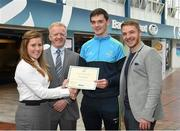 8 May 2015; Eithne Connolly, branch manager, Bank of Ireland DCU, and Michael Kennedy, DCU GAA Academy Director, in the company of Ross Munnelly, Fresher A football manager, right, presents a DCU GAA scholarship awards 2015 to Mark Plunkett, Aughawillan, Co Leitrim. Dublin City University, Glasnevin, Dublin. Picture credit: Ray McManus / SPORTSFILE
