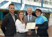 8 May 2015; Eithne Connolly, branch manager, Bank of Ireland DCU, and Michael Kennedy, DCU GAA Academy Director, in the company of Jonny Cooper DCU recruitment officer / ladies football coach, left, present a DCU GAA scholarship awards 2015 to Lindsay Peat, Parnells, Dublin. Dublin City University, Glasnevin, Dublin. Picture credit: Ray McManus / SPORTSFILE