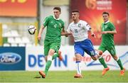 10 May 2015; Conor Masterson, Republic of Ireland, in action against Patrick Cutrone, Italy. UEFA U17 Championship Finals, Group D, Republic of Ireland v Italy. Stara Zagora, Bulgaria. Picture credit: Pat Murphy / SPORTSFILE