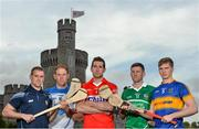 11 May 2015; In attendance at the 2015 Munster GAA Senior Championships Launch are hurlers, from left, Colin Ryan, Clare, Kevin Moran, Waterford, Mark Ellis, Cork, Donal O'Grady, Limerick, and Brendan Maher, Tipperary. Blackrock Castle, Blackrock, Cork. Picture credit: Brendan Moran / SPORTSFILE